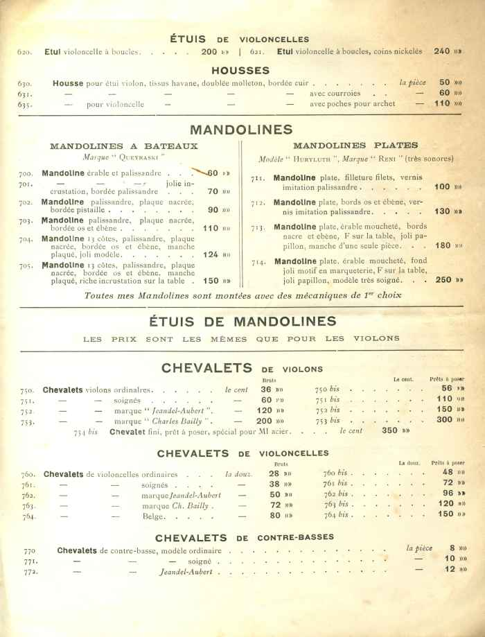 Catalogue Charles Bailly 1921.