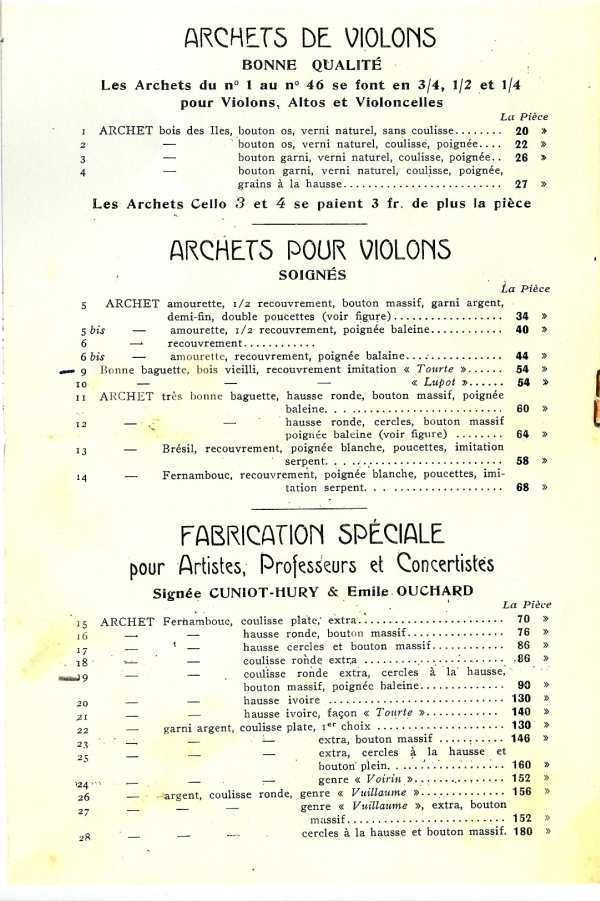 Catalogue 1937 d'Emile Ouchard, archetier à Mirecourt.