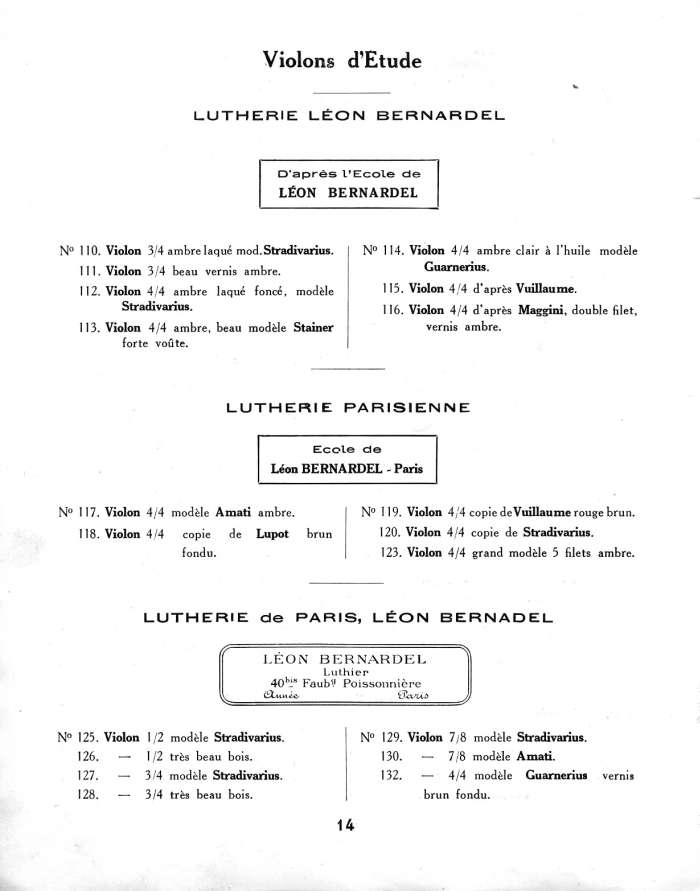 Catalogue Couesnon et L�on Bernardel r�unis, 1934.