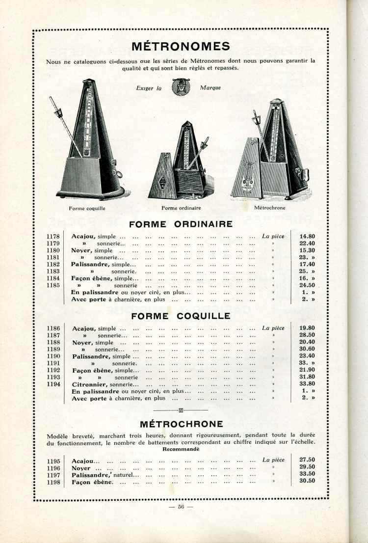 Catalogue Joseph Fissore de 1913.