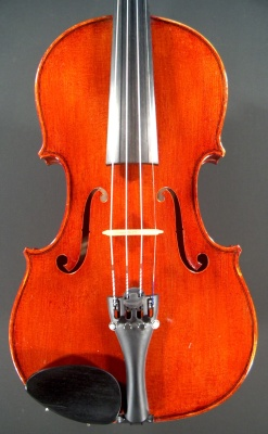 face of a new violin made by Roland Terrier, 1980