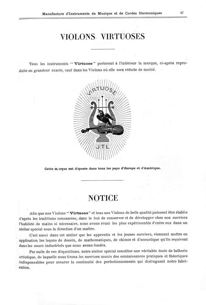 Catalogue 1901 de la maison de lutherie Jérôme Thibouville-Lamy à Mirecourt.