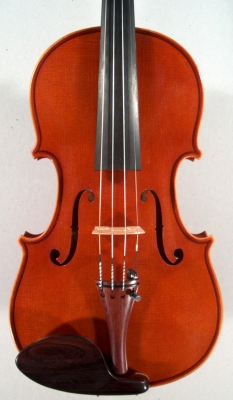 face of a new violin made by Roland Terrier.
