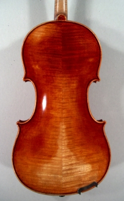 back of a new violin made by Roland Terrier, 1979