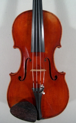face of a new violin made by Roland Terrier, 1979