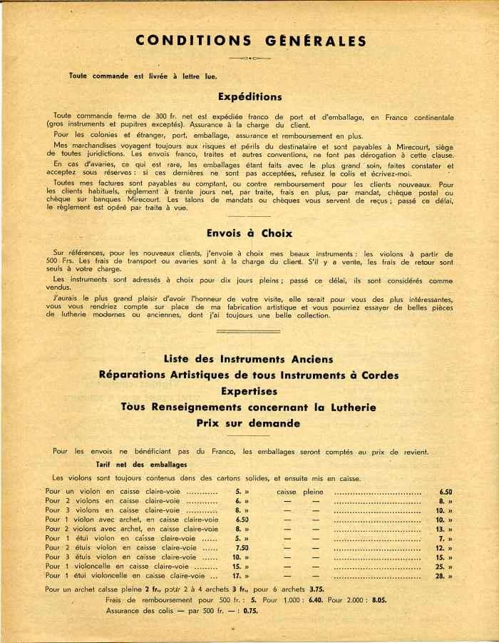 Georges Apparut Tarif De 1936